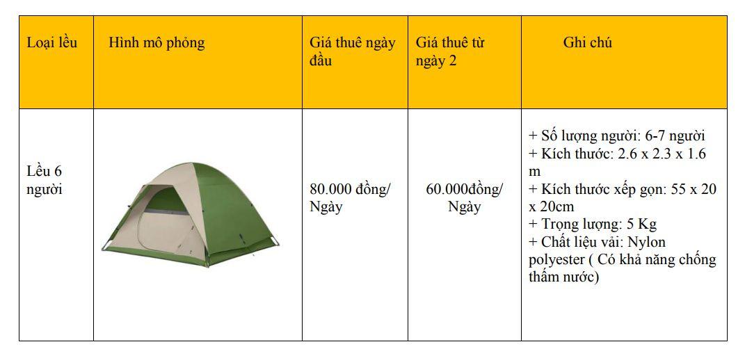 Bảng giá thuê lều 6 người